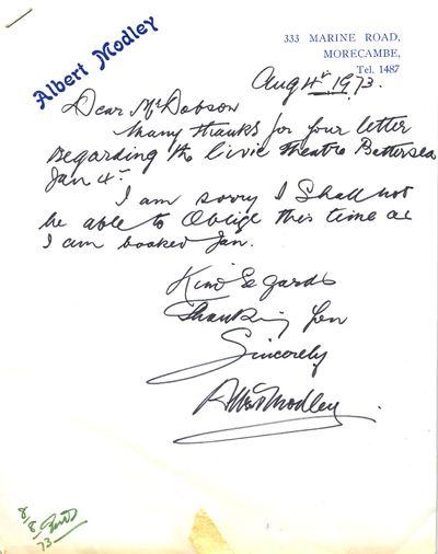 Letter from Albert Modley, 4 August 1973