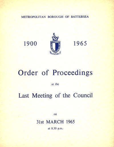 Order of Proceedings - last council meeting, 1965
