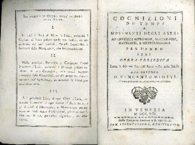 Cognizioni de' tempi e movimenti degli astri : ad uso degli astronomi, agricoltori, naviganti, e meteorologi per l'anno ...
