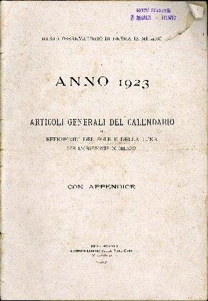 Articoli generali del calendario ed effemeridi del sole e della luna per l'orizzonte di Milano