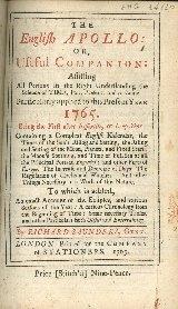 Apollo anglicanus = The English Apollo