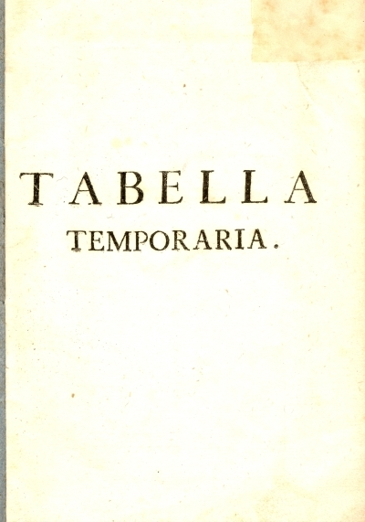 Tabella temporaria delle feste mobili per tutto il secolo 19.