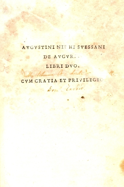 Augustini Niphi Svessani De augurijs libri duo