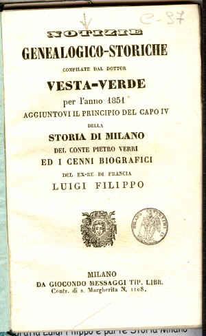 Notizie genealogico-storiche compilate dal dottor Vesta Verde per l'anno ...