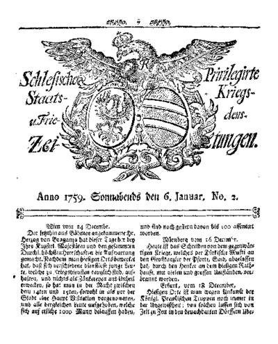 Schlesische Privilegirte Staats- Kriegs- und Friedens-Zeitungen. 1759-01-06 [Jg.18] Nr 2