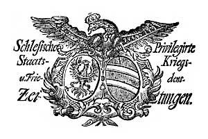 Schlesische Privilegirte Staats- Kriegs- und Friedens-Zeitungen. 1759-01-15 [Jg.18] Nr 6