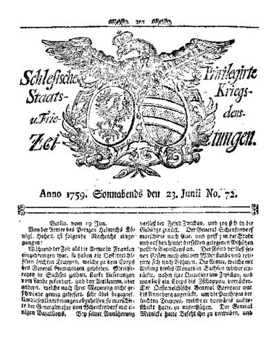 Schlesische Privilegirte Staats- Kriegs- und Friedens-Zeitungen. 1759-06-23 [Jg.18] Nr 72