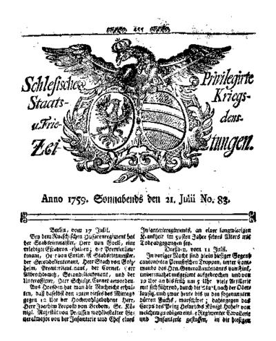 Schlesische Privilegirte Staats- Kriegs- und Friedens-Zeitungen. 1759-07-21 [Jg.18] Nr 83