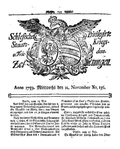 Schlesische Privilegirte Staats- Kriegs- und Friedens-Zeitungen. 1759-11-21 [Jg.18] Nr 136