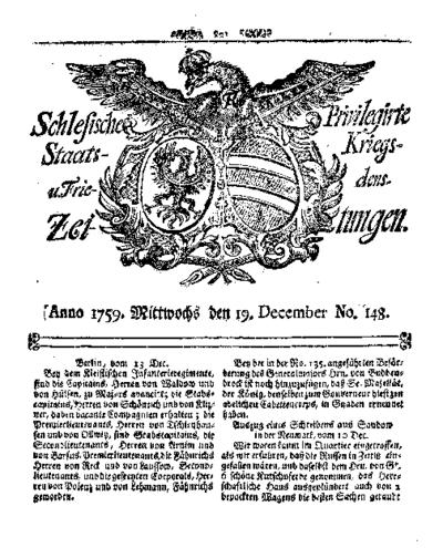 Schlesische Privilegirte Staats- Kriegs- und Friedens-Zeitungen. 1759-12-19 [Jg.18] Nr 148