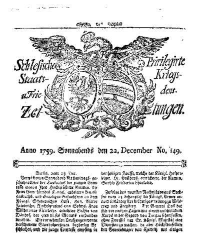 Schlesische Privilegirte Staats- Kriegs- und Friedens-Zeitungen. 1759-12-22 [Jg.18] Nr 149