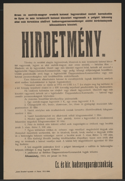 Abgabe der Waffen - Kundmachung - Allomashely - In ungarischer Sprache