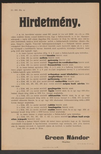 Aufstellung von Standgerichten - Kundmachung - Arad - In ungarischer Sprache