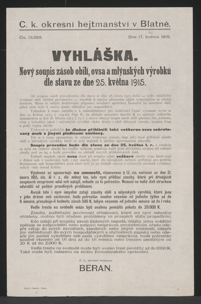 Rationierung von Getreide und Mehl - Kundmachung - Blatna - In tschechischer Sprache