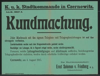 Telefon- und Telegrafenleitungen - Kundmachung - Czernowitz