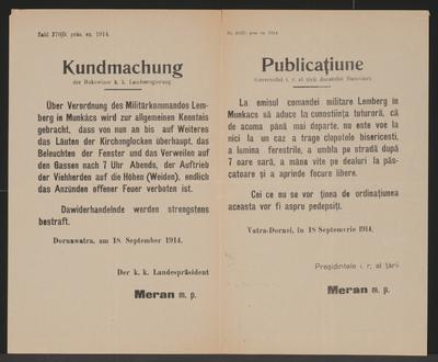 Verordnung des Militärkommandos Lemberg in Munkács - Kundmachung - Dornawatra - Mehrsprachiges Plakat