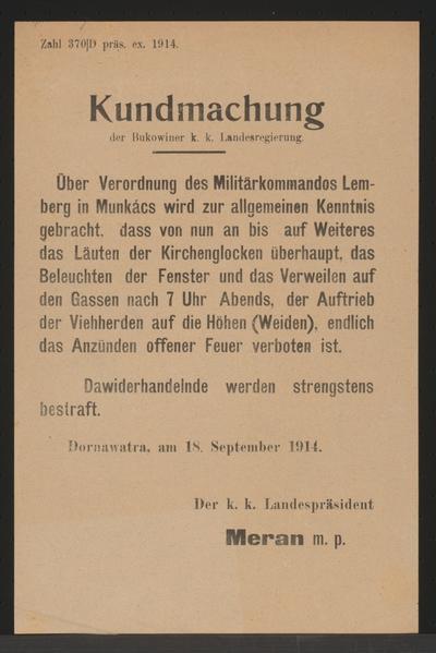 Verordnung des Militärkommandos Lemberg in Munkács - Kundmachung - Dornawatra