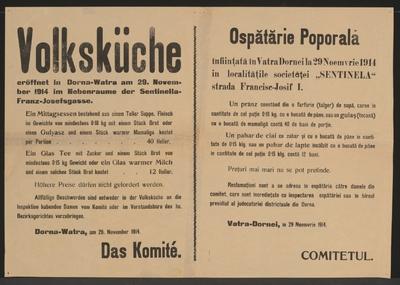 Volksküche - Dornawatra - Mehrsprachiges Plakat