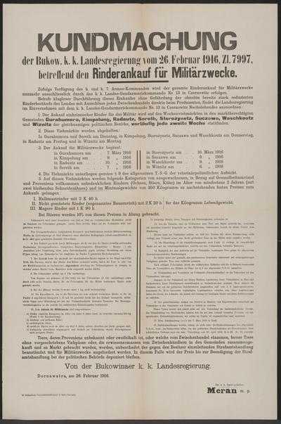 Rinderankauf für Militärzwecke - Kundmachung - Dornawatra - Mehrsprachiges Plakat