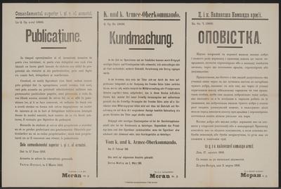 Kriegsgut, Staats- und Privateigentum - Kundmachung - Dornawatra - Mehrsprachiges Plakat