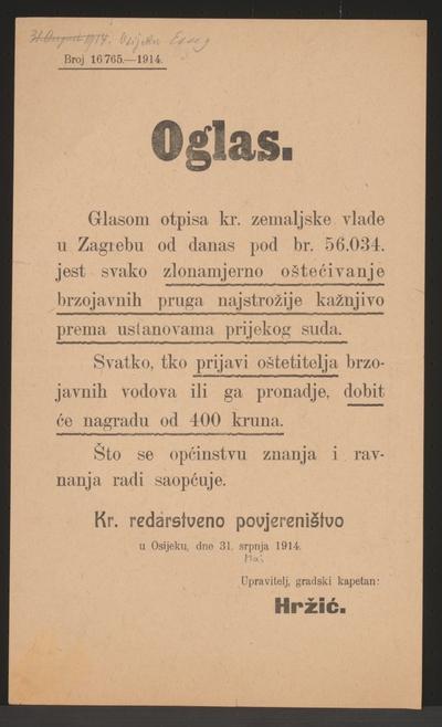 Sabotage Telekommunikation - Bekanntmachung - Osijek - In kroatischer Sprache