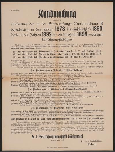 Einberufung - Kundmachung - Gänserndorf