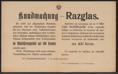 Beschädigung von Staats-Telegraphen oder Telephonlinien - Kundmachung - Mehrsprachiges Plakat