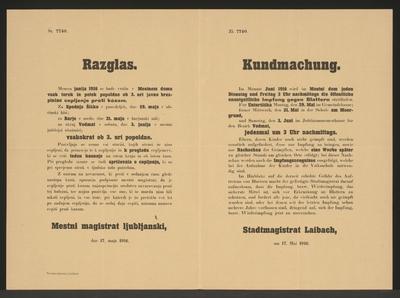 Blatternimpfung - Kundmachung - Laibach - Mehrsprachiges Plakat