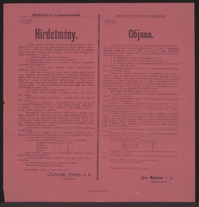 Mehl- und Brotmarken - Kundmachung - Nagykikinda - Mehrsprachiges Plakat
