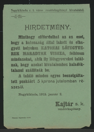 Ablieferung von Waffen - Kundmachung - Nagykikinda - In ungarischer Sprache