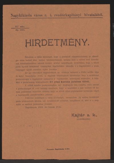 Post aus der Burg von Przemysl - Kundmachung - Nagykikinda - In ungarischer Sprache