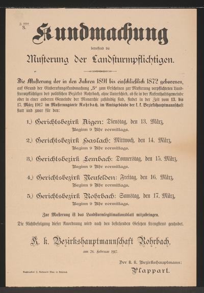 Musterung – Kundmachung - Rohrbach
