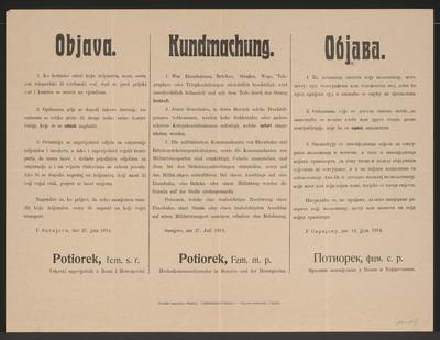 Beschädigungen - Kundmachung - Sarajevo - Mehrsprachiges Plakat