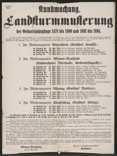 Landsturmmusterung - Kundmachung - Wiener Neustadt