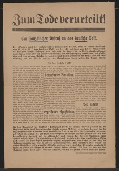 Zum Tode verurteilt! - Ein französischer Aufruf an das deutsche Volk - Berlin