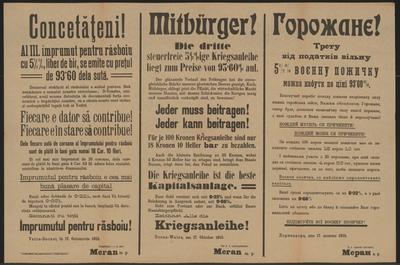 Die dritte Kriegsanleihe - Mitbürger - Dornawatra - Mehrsprachiges Plakat
