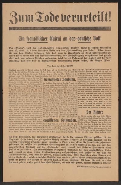 Zum Tode verurteilt! - Ein französischer Aufruf an das deutsche Volk. - Berlin [1917]