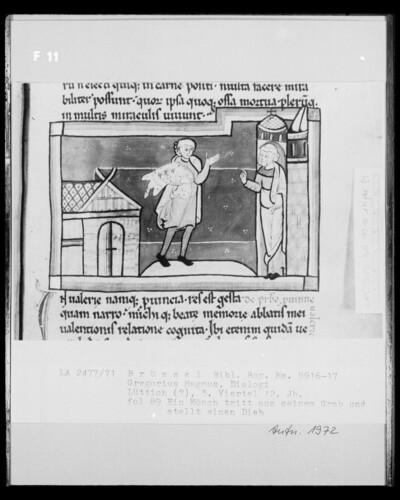 Ms 9916-17, Gregorius Magnus, Dialogi, fol. 89: Ein Mönch tritt aus seinem Grab und stellt einen Dieb