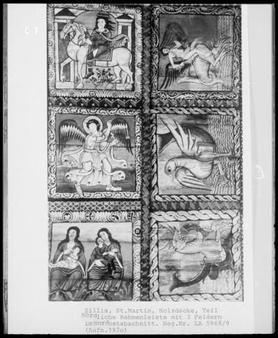Holzdecke mit bemalten Bildfeldern mit Szenen aus dem Leben Christi und der Martinslegende, Rahmenleiste, Detail: Tierkreiszeichen und Fabeltiere