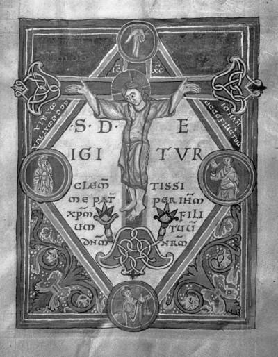 Sakramentar — Kreuzigungsszene mit der Hand Gottes, Folio 12recto