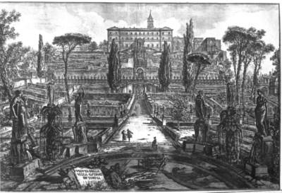 Vedute di Roma disegnate ed incise da Giambattista Piranesi architetto veneziano — Veduta della Villa Estense & Vedute der Villa d'Este