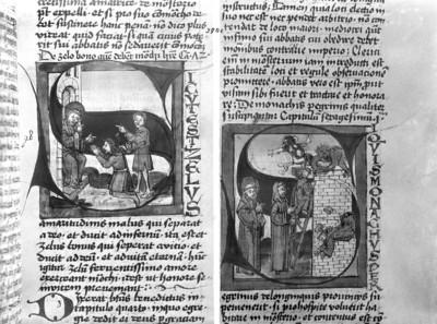 Stephan von Paris, Auslegung der Regel des heiligen Benedikt — Initiale S (i quis), darin Teufel stören die Klosterbauarbeiten, Folio 91recto