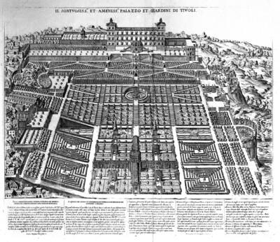 Historische Darstellung von Park und Gebäude der Villa d'Este