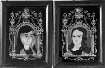Maria und der jugendliche Christus — Brustbild der Maria im gemalten Ädikularahmen