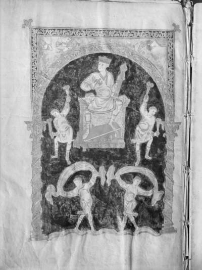 Goldener Psalter von Sankt Gallen / Psalterium aureum — König David musiziert und ist von Tänzern umgeben, Folio p. 2
