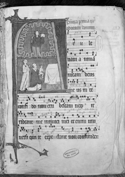 Graduel (hiver) / Graduel de Vauclair (hiver) / Graduale / Graduel cistercien / Missale — Messtext des 1. Advents mit Noten und Initial A, in dem Christus mit Weltkugel und die Darbringung dargestellt sind, Folio fol. 1 r