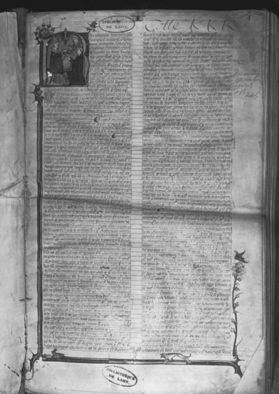 In nomine, etc. Speculum judiciale a magistro Guillelmo Durandi compositum / Durandi Spensum iuris — Initial R(?) mit Bischof und zwei Klerikern, Folio fol. 1 r