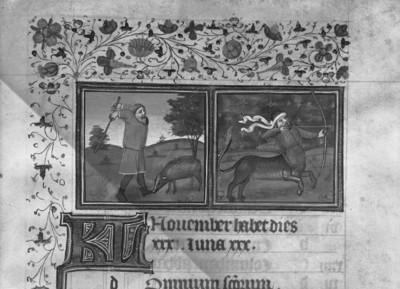 Stundenbuch Karls V. — Monatsblatt November und Tierkreiszeichen Schütze, Folio 203