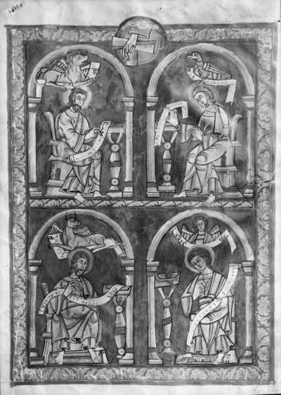 Codex Vyssegradensis / Kodex vyšehradský — Die vier schreibenden Evangelisten, Folio 1v