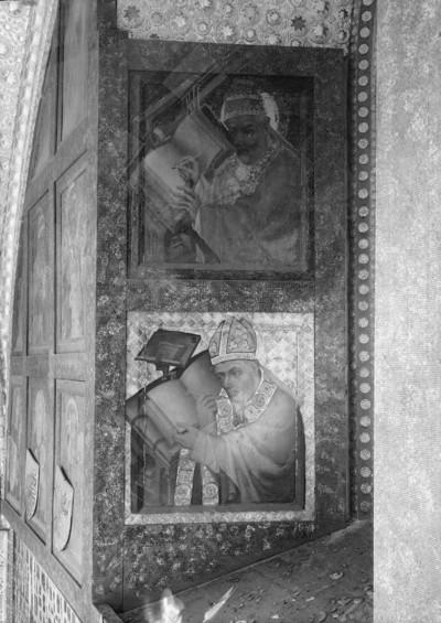 Zyklus von Heiligendarstellungen auf den Türen von Reliquienschränkchen — Heiliger Augustinus